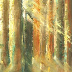 Awakening is a small oil painting on Gesso board in the Ancestral Woods collection
