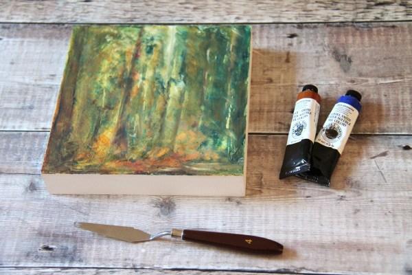 Shelter - Ancestral Woods oil on wooden block