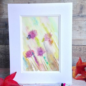 A painting of a bee on chive flowers. Watercolour with beautiful pinks, delicates sunny yellows and splashes of turquoise blue. A warm sunny painting.