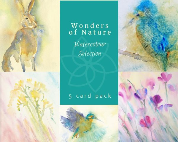 A pack of greetings cards of watercolour subjects from nature. A Hare, a Kingfisher, Freesias, and Poppies