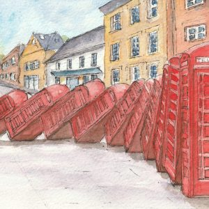 Art installation of falling down phones boxes in Kingston upon Thames. It is pen and wash style. The installation is called Out of Order.