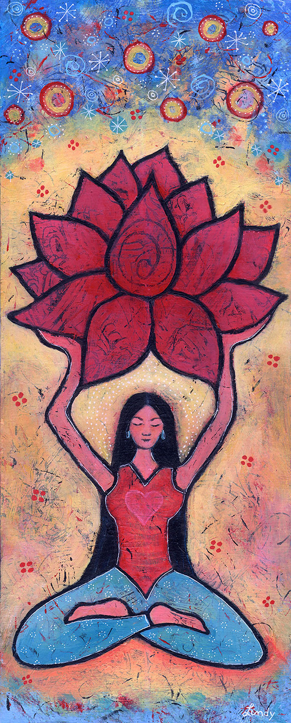 Lotus yoga painting by Lindy Gaskill