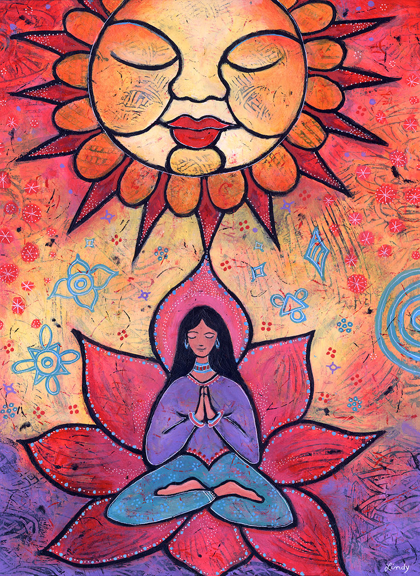 yoga under the sun painting by Lindy Gaskill