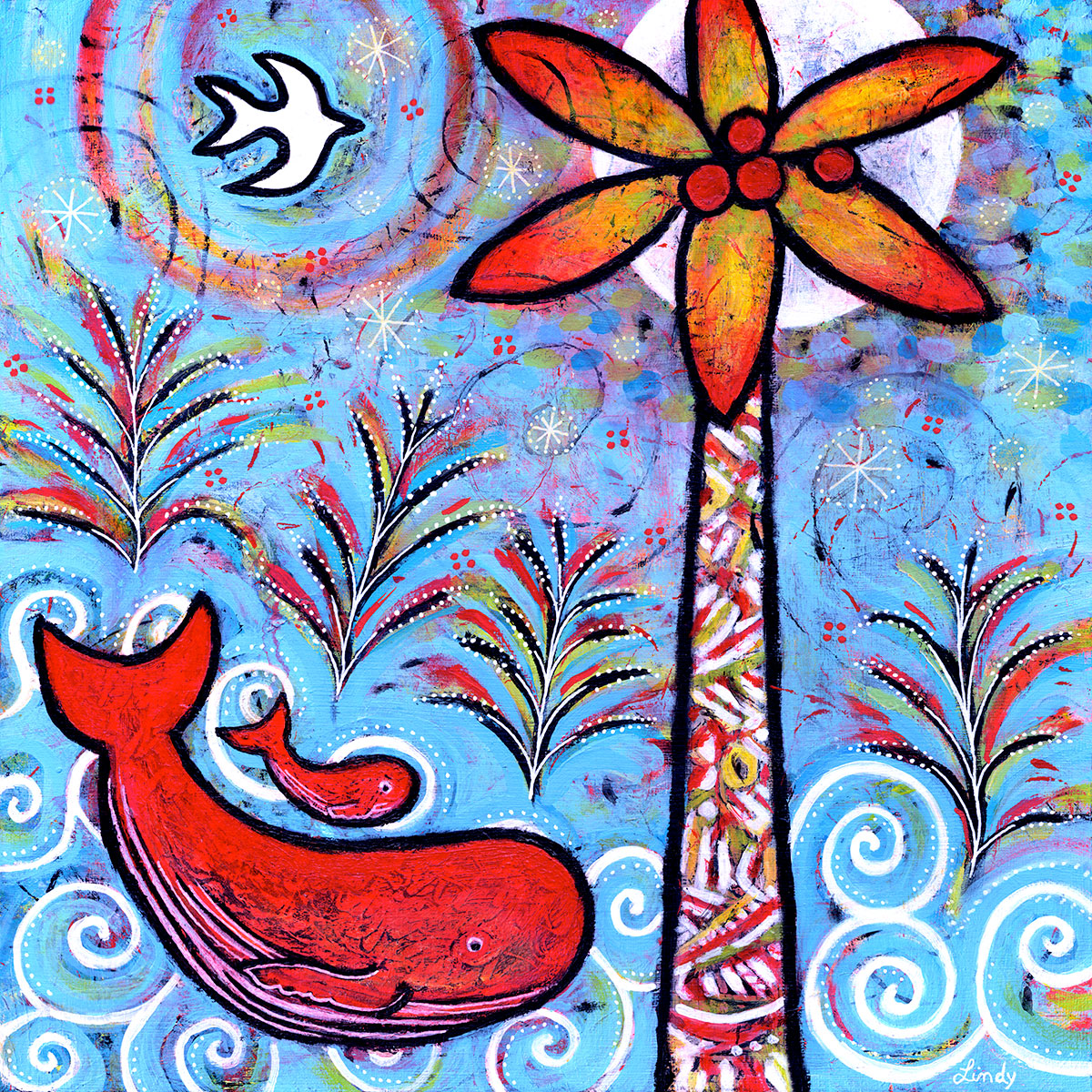 colorful whale painting by Lindy gaskill
