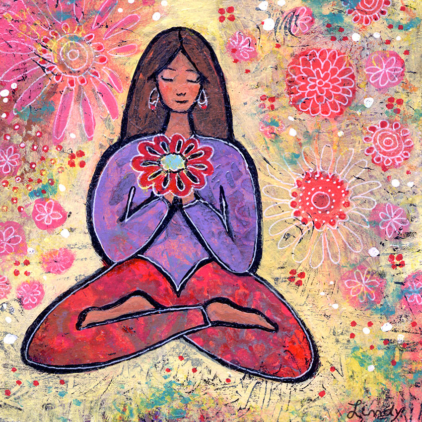 brown haired yoga girl painting by Lindy Gaskill