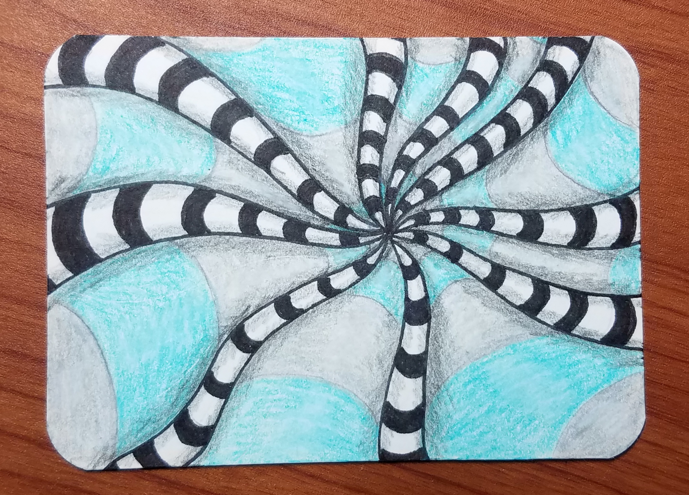 7 Day Drawing Challenge , Op Art Bullseye , Art by Ro
