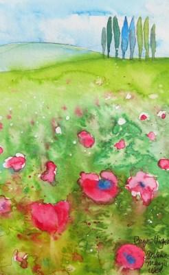Tuscan Hillside Watercolor