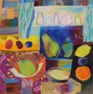 Domestics oil pastel collage
