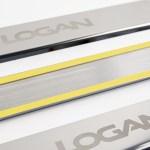Накладки на пороги в проем дверей (нержавейка) для Renault Logan с 2014 г.в.