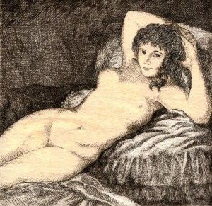 Rosey Rosenthal - Muse Goya - Etching and Watercolor