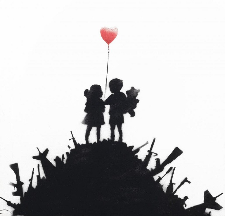 Image- Banksy, 'Kids on Guns', one of the works to be auctioned at Bonhams Contemporary Art sale