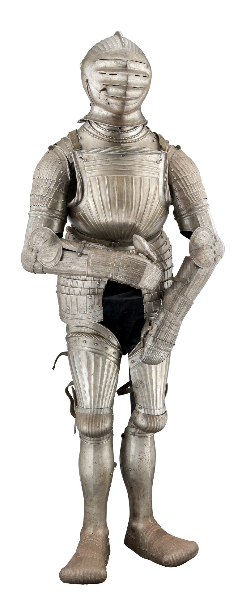 "Image- A composite German and Italian cap-a-pie field armour in the so-called ""Maximilian Fashion"", partly Nuremberg, early 16th century. was probably used for decoration or war sold"