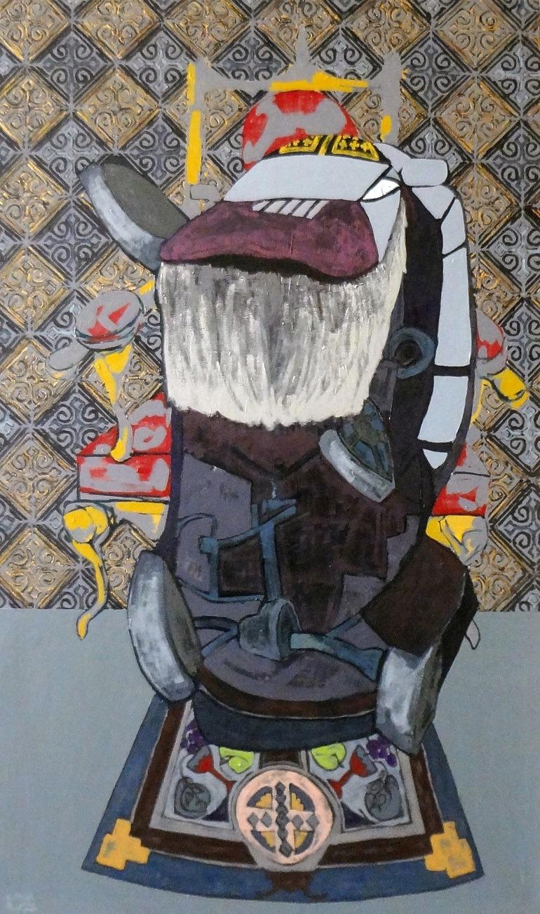 Image- cleaning machine -  Terminators- Ahmed Kassim, Terminators (A), a painting on canvas.Egypt revolution,