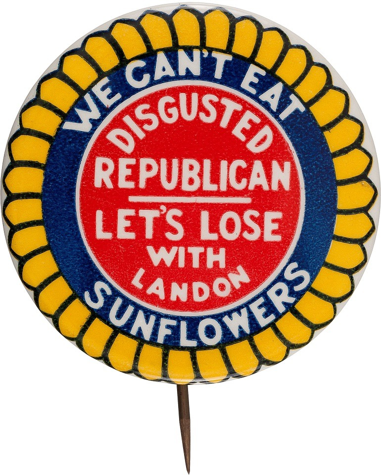 Anti-Alf Landon One of the Classic Political Slogan Button. Image courtesy of Heritage Auctions