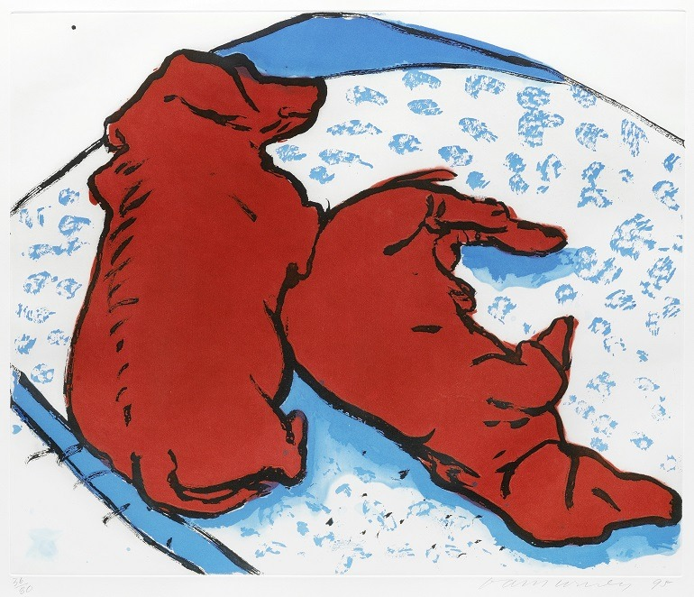 Image- Two Dogs- by David Hockney RA 's  red dogs titled  Vertical Dogs sleep on their bed.