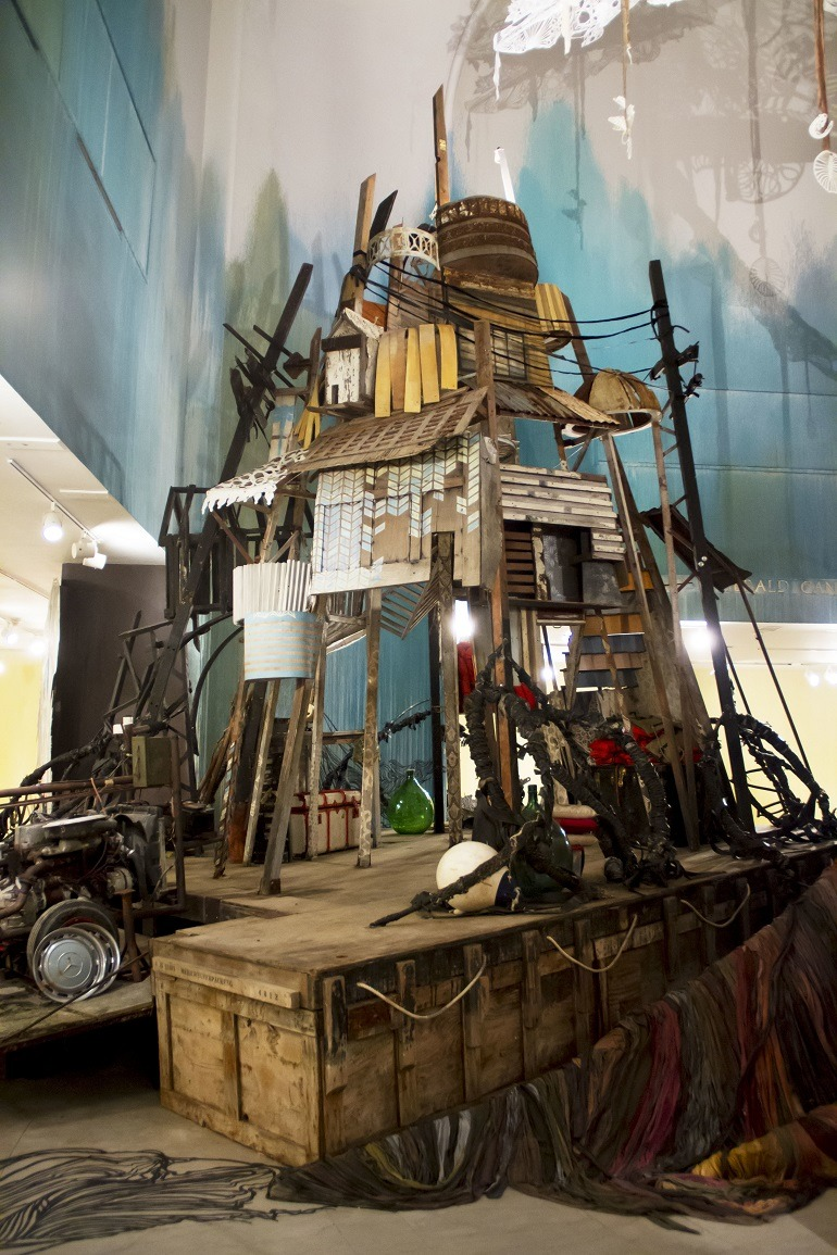 Image- Trash boat- a boat made from trash dumbed in the sea help Swoon address environmental issue. Swoon- Submerged- Motherlands at Brooklyn Museum