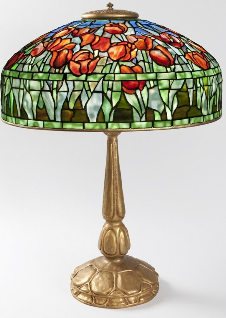 Image: Tulip table lamp by Tiffany Studios New York, Circa 1910. Base Signed Tiffany Studios New York 587-Antiques Show
