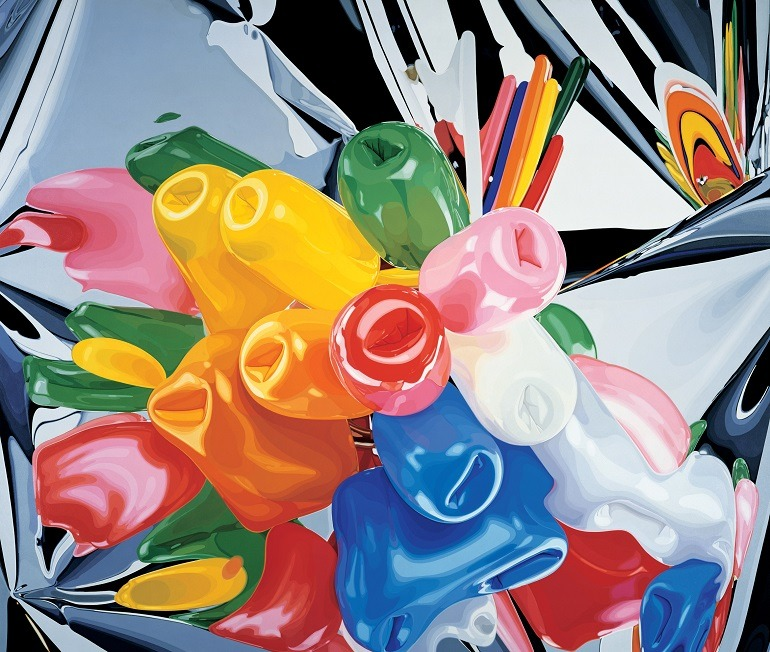 Image: Jeff Koons colorful paintings titled Tulips is an oil on canvas presently on display at the Whitney Museum of American Art