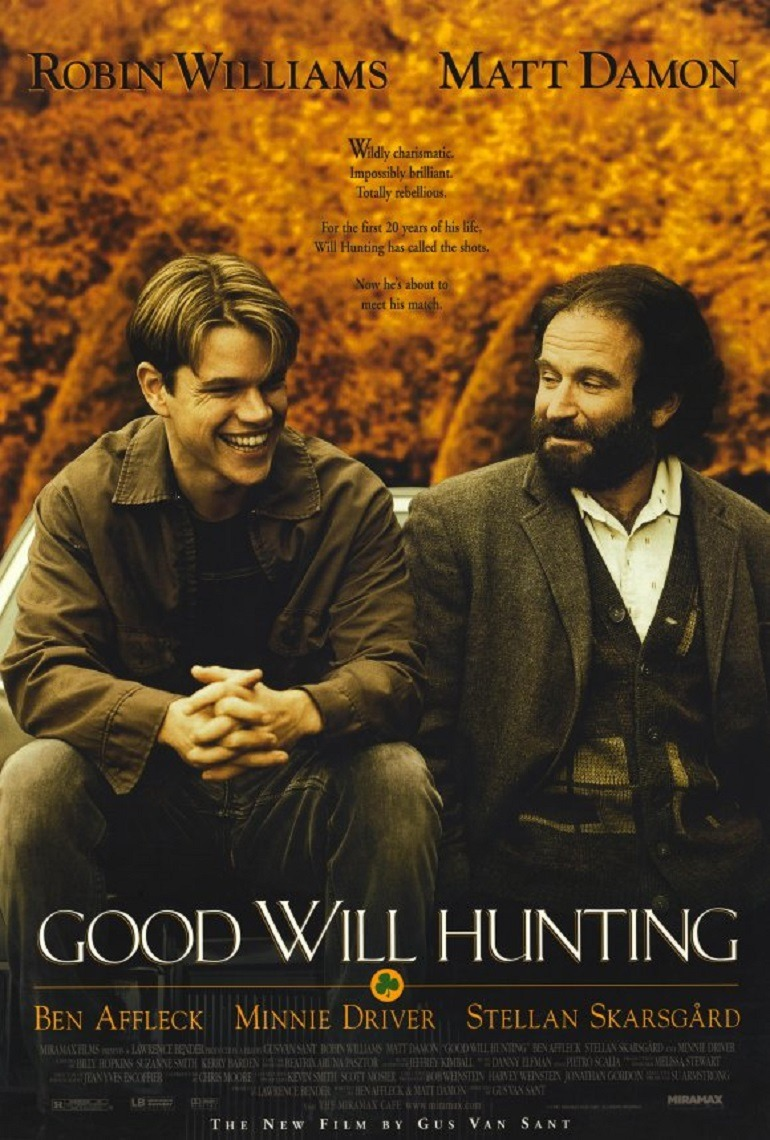 Image: Robin Williams on the poster of Good Will Hunting, the movie that won him an Academy Award for Best Supporting Actor