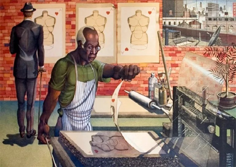 Image: Color lithograph on Rives BFK tan paper titled 'Blackburn' by Ron Adams, American (b. 1934) shows a man printing an images in the The Lawrence Lithography Workshop-Civil Rights Movement