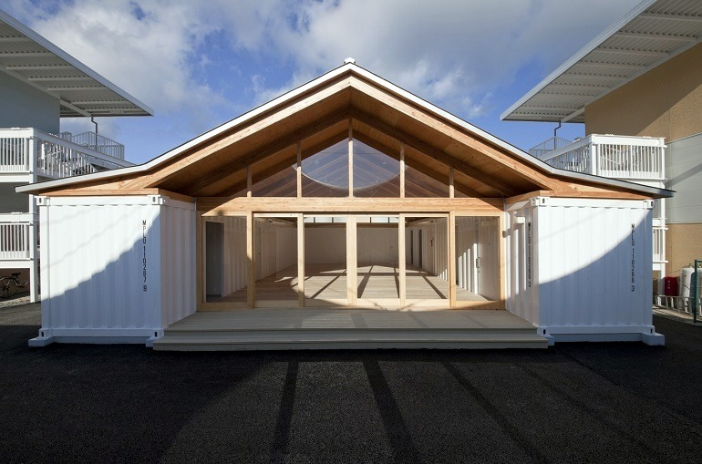 Image: Onagawa Community Center, a simple architectural design by Shigeru Ban, was created from shipping containers and paper cardboard tubes at Onagawa Japan 2011