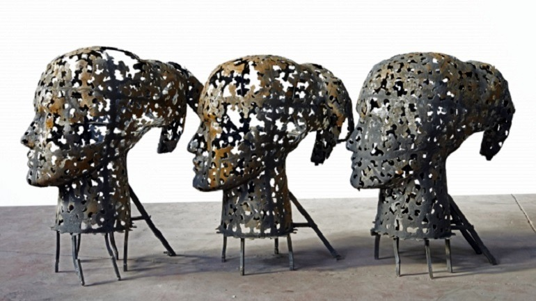 Image: Metal sculpture titled Heads of Eleonora by Xavier Mascaró pay homage to women and the impact on the society