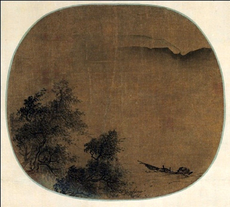 Image: Ink and light color on silk painting titled Fisherman Returning to Shore in a Storm by Xia Gui painted on oval fan, mounted and framed