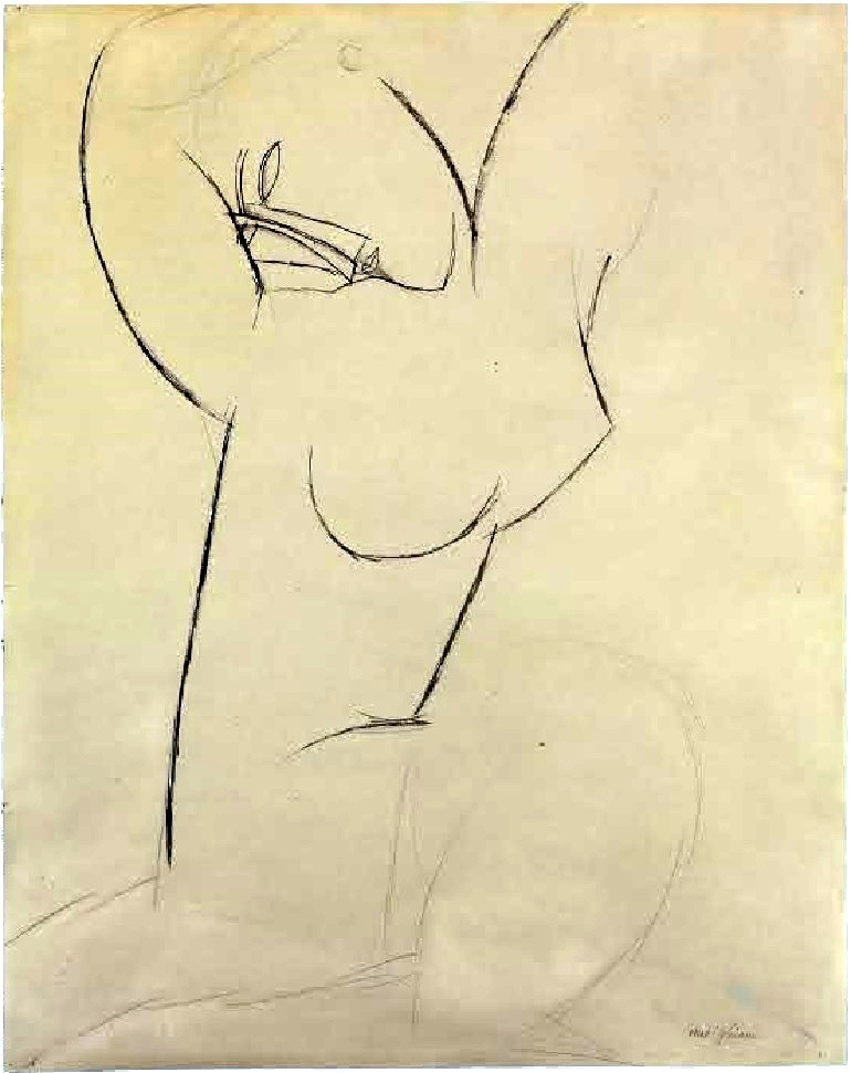 Image: Drawing for a sculpture by Amedeo Modigliani titled  Cariatide is a  brush and brown ink and pencil on paper on paper