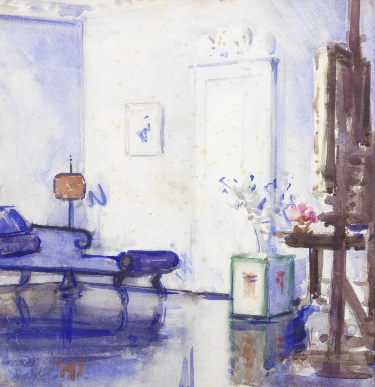 Image: Painting of the Studio Interior, 130 by George St Francis by Campbell Boileau Cadell RSA RSW, was one of the works by famous Scottish artists and colorists at Bonhams auction