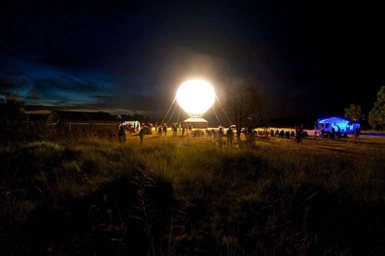 Image: Art project by Heather and Ivan Morison, Sleepers Awake, 2014, used balloon and light to illuminate the night-art project