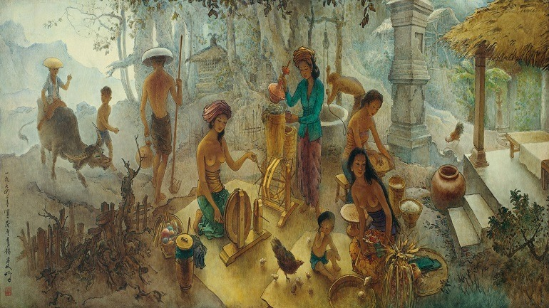 Image: In this large scale Oil on canvas painting titled Bali Life, Lee Man Fong captures several men and women at work on a farm, an important aspect of life in Bali-Asian art