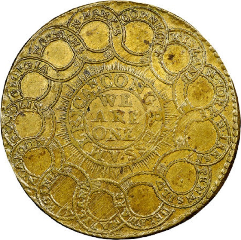 Image: 1776 Brass $1 Continental Dollar Currency is one of the rare coins sold at the auction