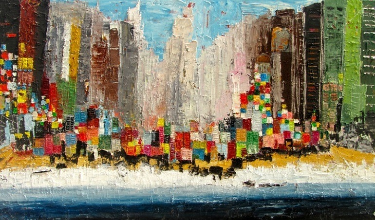 Image: Crossing the Windows, an Oil on Canvas by Ahmad Farid, has rich impasto of red, blue, green and yellow that reminds us of different shades of Egyptian migrants
