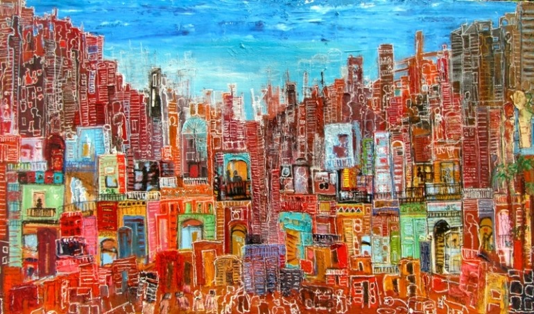 Image: Cultural Migration, an Oil on Canvas painting by Ahmad Farid reveals how Egyptians continue to hold on to their identity even in New York