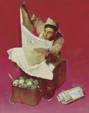 Image: Norman Rockwell (1894-1978), art illustration titled Willie Gillis: Hometown News painted in 1942-American Art Sale