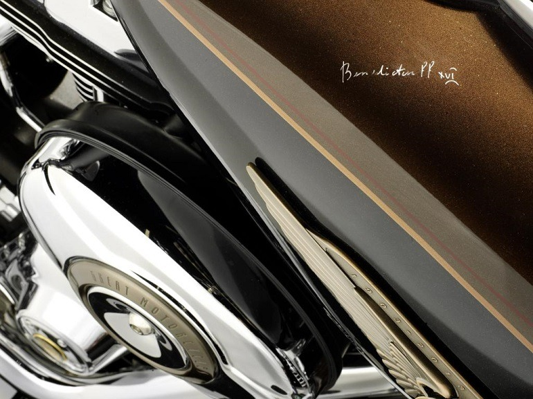 Image: Signature of  Pope Emeritus Benedict XVI on his  Harley-Davidson motorcycle signed in 2013