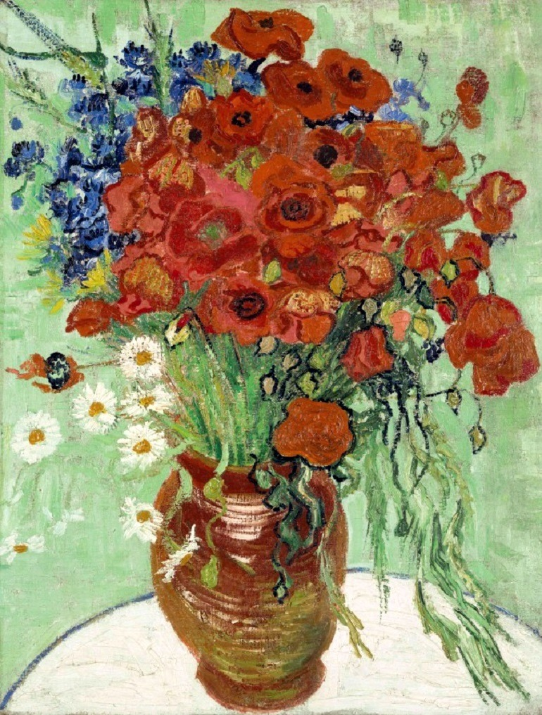 Image: Still life, Vase with Daisies and Poppies  by Vincent Van Gogh is a painting  of beautiful flowers