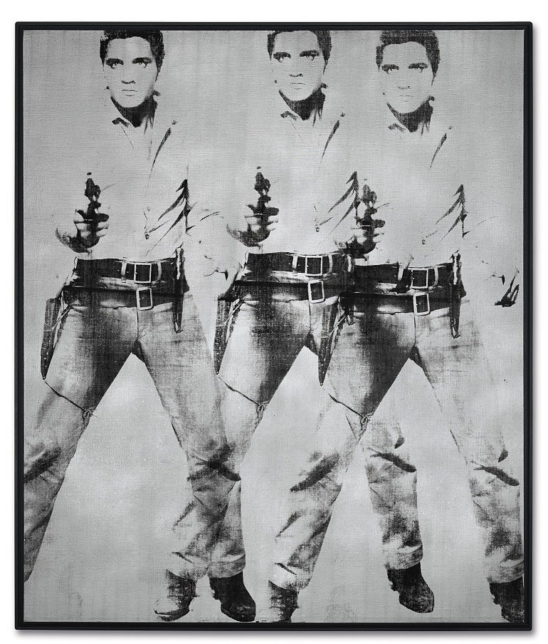 Image: Andy Warhol, Triple Elvis [Ferus Type], silkscreen ink and silver paint on linen, painted in 1963. Sold during  Post-War & Contemporary Art Evening Sale in  New York