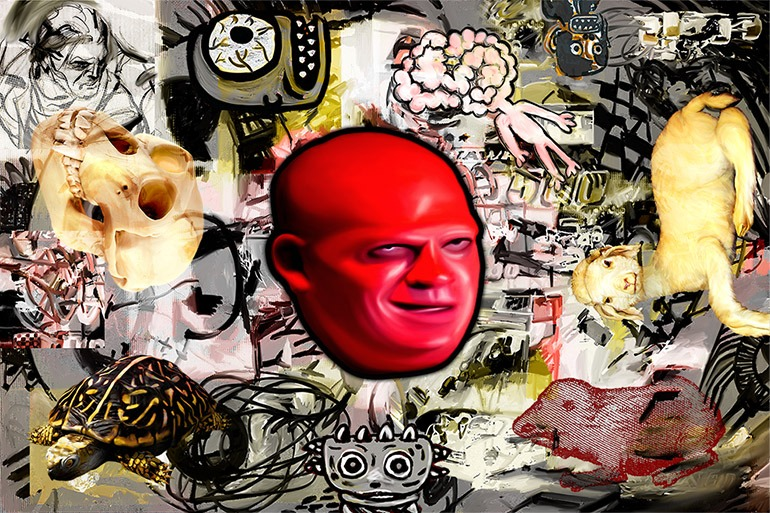 Image: Roland Faesser's Cherry Head, print on canvas is witty