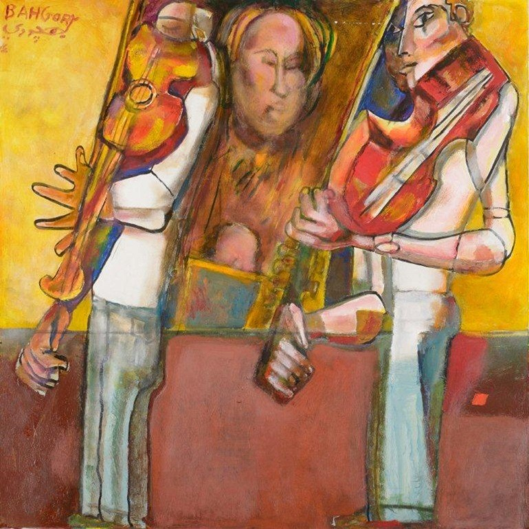 Image: The Two Violinists , oil on canvas painting by Egyptian artist George Bahgory