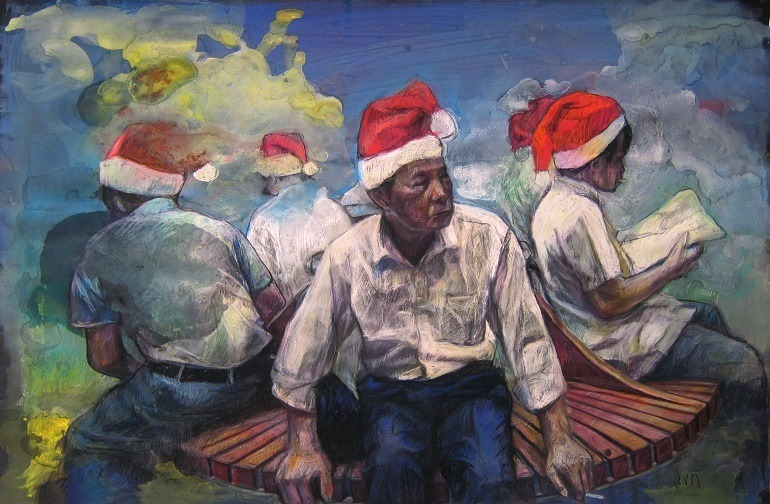 Image:  Sakura,  Pastel and  Color pencil on Paper by Vivian Ho shows men at work as Santa   -Everyday life in Hong Kong