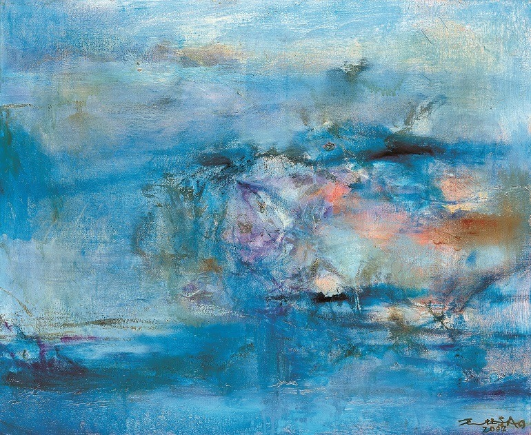 Image: Zao Wou-Ki, Untitled, oil on canvas, painted in 2004, is one of the paintings that attracted attention at Christie's auction house art sale in Hong Kong