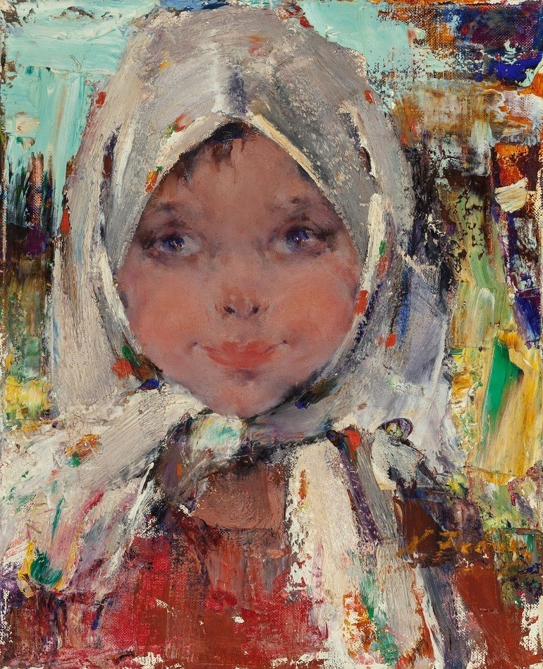 Image: Nicolai Fechin (Russian/American, 1881-1955), Peasant Girl, oil on canvas 16 x 13 inches (40.6 x 33.0 cm) one of works that made record price at American art sale and Saturday Evening Post covers
