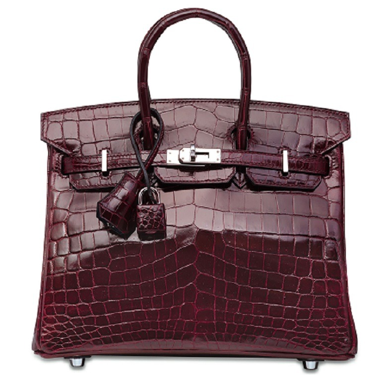 Image: A Custom Shiny Bordeaux & Bleu Marine Niloticus Crocodile Bi-Color Birkin 25 With Palladium Hardware, Hermès, 2014, one the highlight at Christie's Handbags and Accessories auction