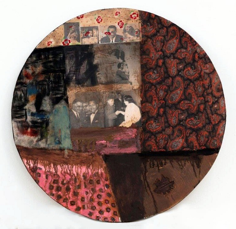 Image: Mohammad Omar Khalil, Oum Kalthoum 7, oil & collage on wood 60.25cm (circle), 2013, was one of the works celebrating culture at the Al Masar Gallery of Contemporary Art -News