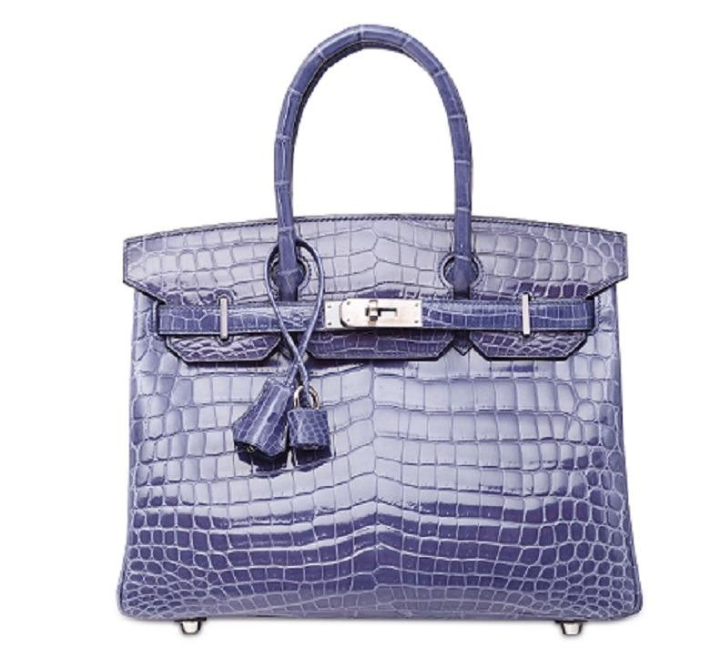 Image: A Shiny Bleu Brighton Niloticus Crocodile Birkin 30 with Palladium Hardware, Hermès, 2010 handbag