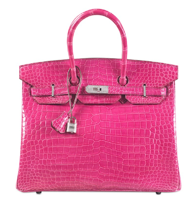 Image: Shiny Fuchsia Porosus Crocodile Diamond Birkin 35 with 18k White Gold & Diamond Hardware, Hermès, 2014 handbag