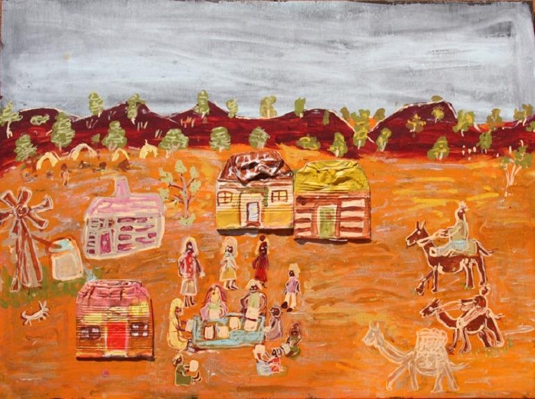 Image: Eunice Yunurupa Porter, Riding camels – Warburton Mission times 2014, wins the Western Australian Artist Award