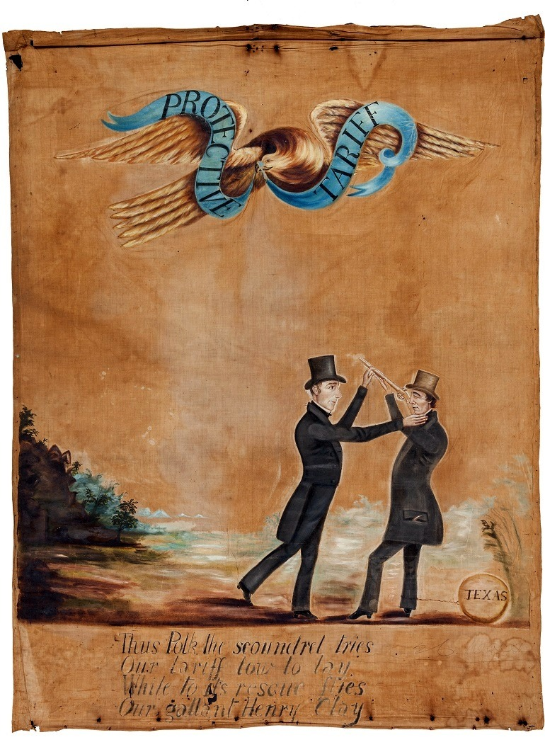 Image: Henry Clay and James K. Polk: A Highly Important Folk Art political Banner from the 1844 Campaign. Art Auction News