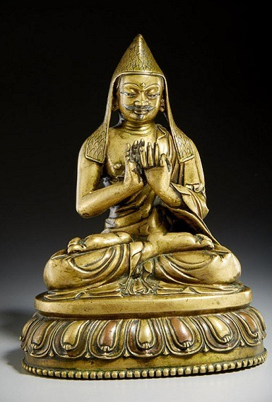 Image: A silver and copper inlaid copper alloy figure of Gayadhara Tibet, circa 15th century is an exceptional example of  a Tibetan masterpiece-Art Auction News